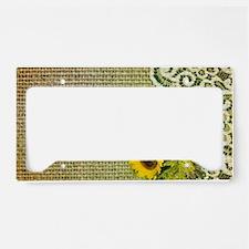 lace burlap sunflower western License Plate Holder