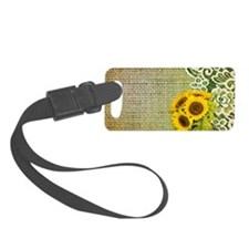 lace burlap sunflower western co Luggage Tag
