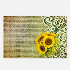lace burlap sunflower wes Postcards (Package of 8)