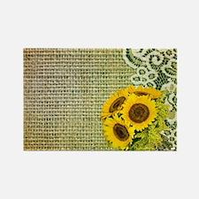 lace burlap sunflower western cou Rectangle Magnet