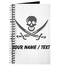Custom Black Diagonal Stripes Calico Jack Skull Jo