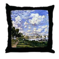 Monet - The Marina at Argenteuil Throw Pillow
