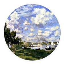 Monet - The Marina at Argenteuil Round Car Magnet