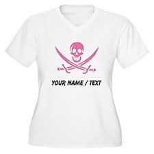 Custom Pink Crosshatch Calico Jack Skull Plus Size