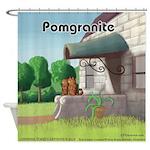 Pomeranian On Granite (Pomgranite) Shower Curtain