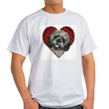 Shih Tzu Valentine Ash Grey T-Shirt