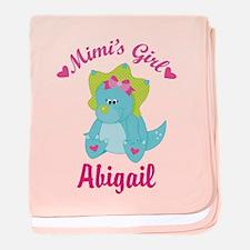 Personalized Mimis Girl Dino baby blanket