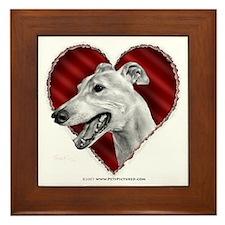 Greyhound Valentine Framed Tile