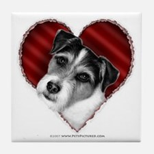 Jack Russell Terrier Valentin Tile Coaster
