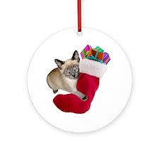 Kitty Christmas Stocking Ornament (Round)