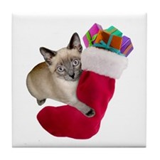 Kitty Christmas Stocking Tile Coaster