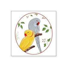 "Indian Ringnecks Square Sticker 3"" x 3"""