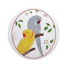 Indian Ringnecks Round Ornament