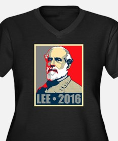 Lee for President Women's Plus Size V-Neck Dark T-