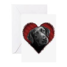Labrador Retriever Valentine Greeting Cards (Packa