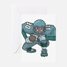 Football Player Blue Uniform Greeting Cards (Packa