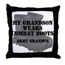 Army Grandpa Grandson Combat Boots Throw Pillow