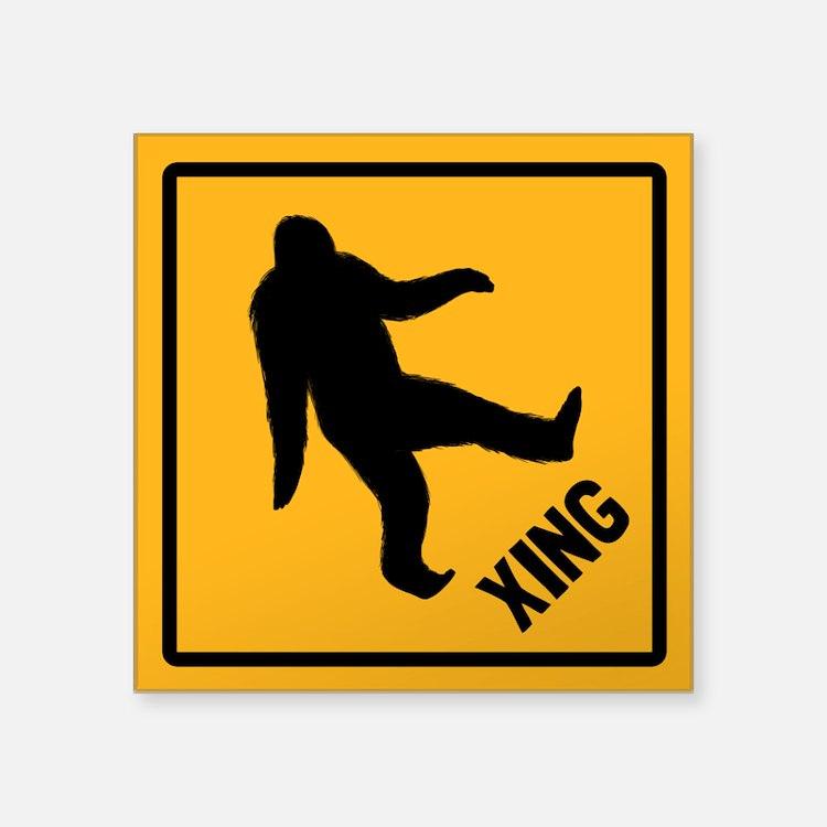 "Bigfoot Crossing Square Sticker 3"" x 3"""