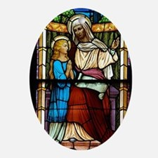St Anne with Mary Oval Ornament