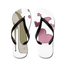 Stiletto and Pink Hearts Flip Flops