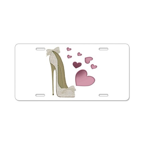 Stiletto And Pink Hearts Aluminum License Plate