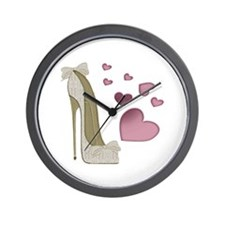 Stiletto And Pink Hearts Wall Clock