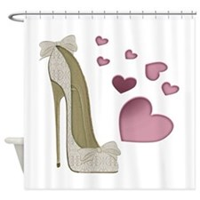 Stiletto and Pink Hearts Shower Curtain
