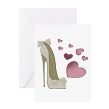 Stiletto And Pink Hearts Greeting Cards
