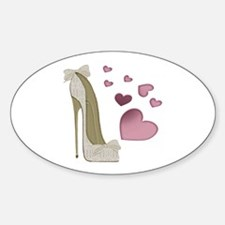 Stiletto And Pink Hearts Decal