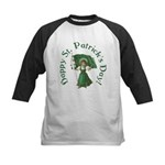 Irish Girl With Flag Kids Baseball Jersey