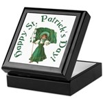 Irish Girl With Flag Keepsake Box