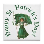 Irish Girl With Flag Tile Coaster