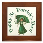 Irish Girl With Flag Framed Tile
