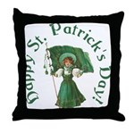 Irish Girl With Flag Throw Pillow