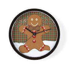 Gingerbread Man With Tartan Plaid Wall Clock