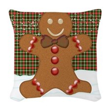 Gingerbread Man With Tartan Woven Throw Pillow