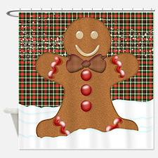Gingerbread Man With Tartan Plaid Shower Curtain