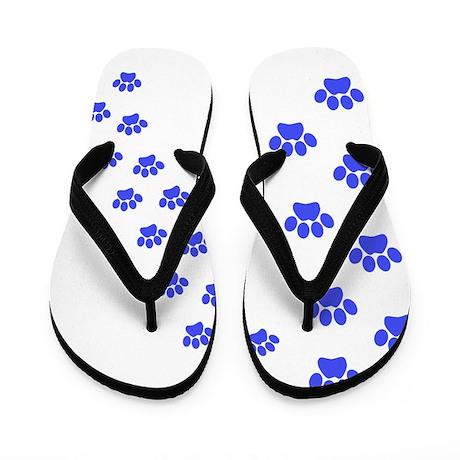 blue paw prints Flip Flops