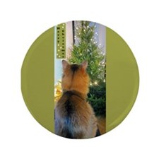 Cat And Christmas Tree 3.5&Quot; Button