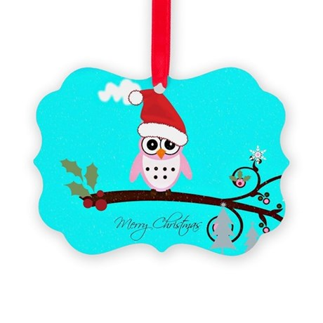 Santa Owl - Merry Christmas Picture Ornament