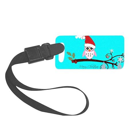 Santa Owl - Merry Christmas Small Luggage Tag