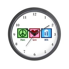 Peace Love Milk Wall Clock