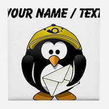 Custom Mail Man Penguin Tile Coaster