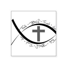 "jesus fish.png Square Sticker 3"" x 3"""