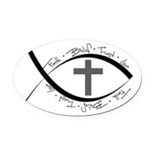 jesus fish.png Oval Car Magnet