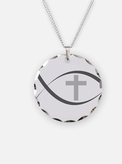 jesus fish_reverse.png Necklace Circle Charm