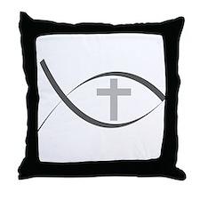 jesus fish_reverse.png Throw Pillow