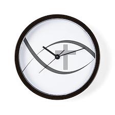 jesus fish_reverse.png Wall Clock