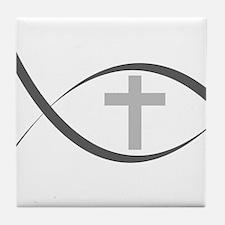 jesus fish_reverse.png Tile Coaster
