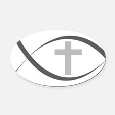 jesus fish_reverse.png Oval Car Magnet